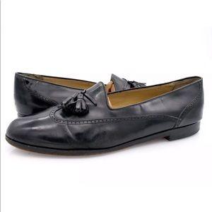 Mezlan Mens Black Leather Tassel Loafer Dress Shoe